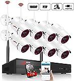 【el más Nuevo】 ANRAN 1080P Kit de Cámaras Seguridad WiFi Vigilancia Inalámbrica Sistema de Cámara CCTV Inalámbrica Kit NVR 8CH con 8 IP Cámaras Exterior de Visión Nocturna, Acceso Remoto, P2P, 2TB HDD