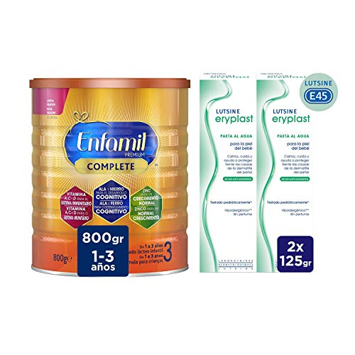 Enfamil Premium Complete 3 - Leche Infantil de Continuación para Lactantes Niños de 1 a 3 Años, 800 gr + Eryplast Lutsine E45 - Pasta al Agua Crema Pañal Bebé 2 x 125 ml