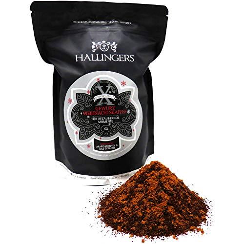 Hallingers Gewürzter Gourmet-Kaffee, schonend langzeit-geröstet (500g) - Weihnachtskaffee, Filter-Mahlung (Aromabeutel) - zu Weihnachten