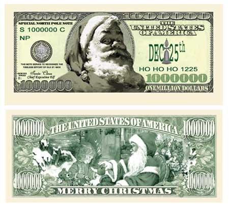 American Art Classics Santa Claus Million Dollar Bill - Pack of 100 - Modern Style Bill - The Ultimate Stocking Stuffer