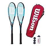 Wilson Ultra 300 - Racchetta da squash, set doppio, con borsa per il trasporto e 3 palline da squash