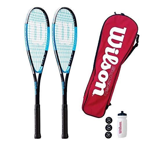 Wilson Ultra 300 - Juego doble de raqueta de squash, incluye botella de agua, funda de transporte y 3 bolas de squash