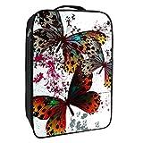 Caja de almacenamiento para zapatos de viaje y uso diario, mariposa con alas coloridas, organizador portátil impermeable hasta 12 yardas con doble cremallera y 4 bolsillos