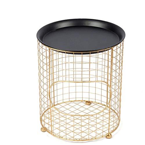 Zuzanny nachtkastje Iron Art nachtkastje Simple European Gold Storage slaapkamer locker ronde nachtkastje woonkamer bijzettafel zwart