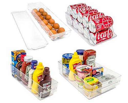 Sorbus Refrigerator and Freezer Storage Organizer Bins Stackable Pantry Storage with Handles, 4 Piece Set