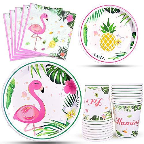 WERNNSAI Flamingo Party Zubehör - Tropische Luau Partydekorationen Geschirr Set Abendessen Dessert Teller Servietten und Tassen für Mädchen Kinder Geburtstag Babydusche 16 Gäste 64PCS