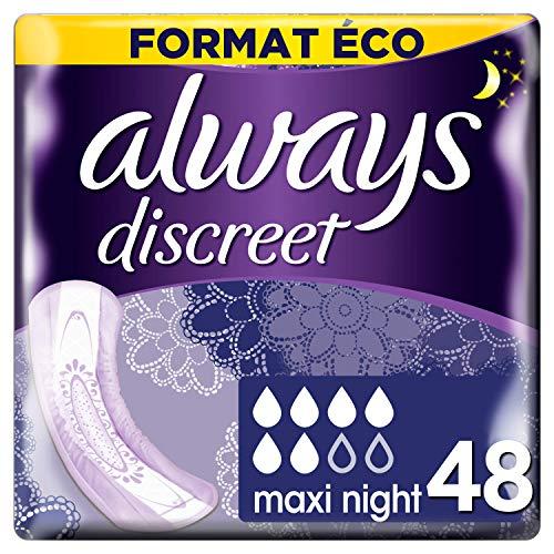 Always Discreet - Serviettes pour incontinence / fuites urinaires, Maxi, Nuit Format éco x48