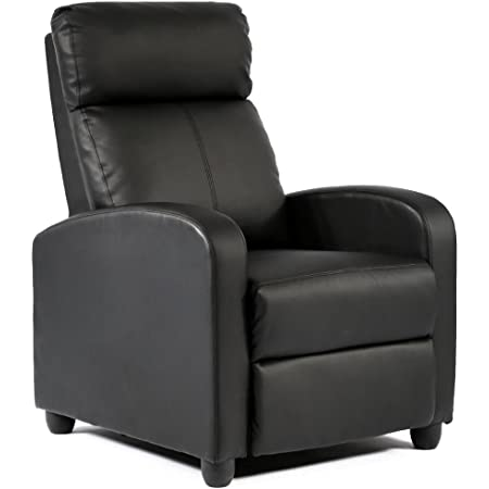 Homall Recliner Chair Padded Seat Pu Leather For Living Room Single Sofa Recliner Modern Recliner Seat Club Chair Home Theater Seating Black Furniture Decor