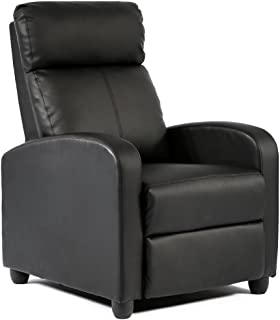FDW Wingback Recliner Chair Leather Single Modern Sofa Home Theater Seating for Living Room, Black