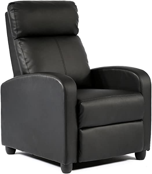 FDW Wingback Recliner Chair Leather Single Modern Sofa Home Theater Seating For Living Room Black