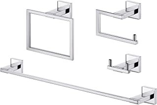 Kes 4-Piece Bathroom Accessory Set No Drill Glue RUSTPROOF Without Drilling Screw Free Wall Mount Polished SUS 304 Stainle...