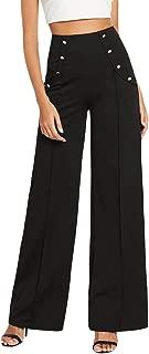 SOLY HUX Women's Elegant High Waisted Button Down Zipper Back Stretchy Wide Leg Long Pants