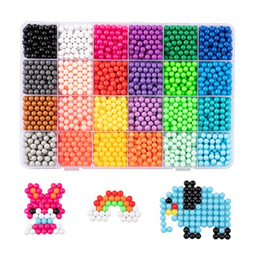 Surplex Water Fuse Beads Kit 24 Colors 3600 Water Sticky Beads Set Puzzle Game Fun DIY Hand Making 3D Puzzle Educational Toys for Children Gifts