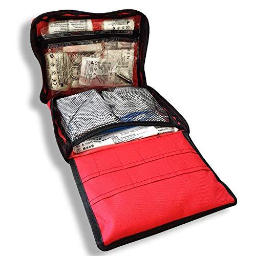 Erste Hilfe Tasche gefüllt | 90-teiliges Erste Hilfe Set mit Verbandsmaterial, Pflastern, Rettungsdecke UVM | Für Reise, Outdoor, Wandern, Auto, Zuhause | 22x17x5 cm