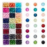 PandaHall Elite 1560 cuentas de cristal esmerilado de 24 colores para hacer joyas, 6 mm de color caramelo esmerilado granos a granel para hacer collares y pulseras