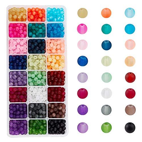 PandaHall 1608pcs 24 Colori Perle di Vetro Smerigliato 6mm Perle di Vetro Rotonde per la Fabbricazione di Gioielli