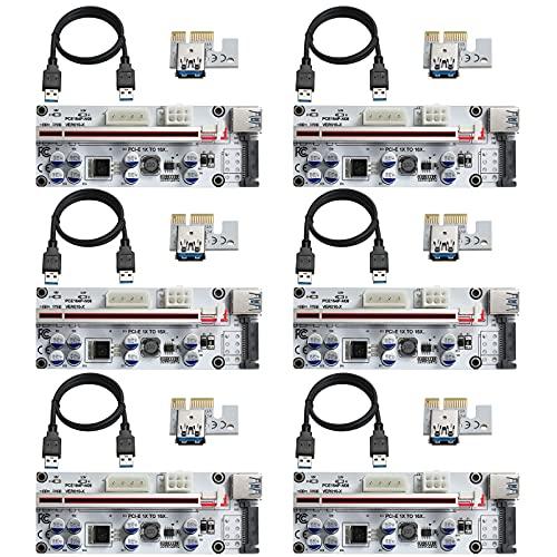 MZHOU 6 StüCk VER010-X PCI-E 1X bis 16X Riser Card,mit 0,6m USB 3.0 Verlängerungskabel-für Bitcoin Miner Mining(6 Stück)