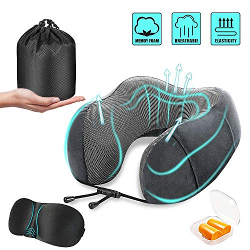 Binteng Travel Pillow Memory Foam Neck Head Support Pillow Comfortable Portable Flight U Type Pillow Travel Kit with Eye Mask& Ear Plugs Best Travelling Gift for Men&Women Airplane Train Car Sleeping