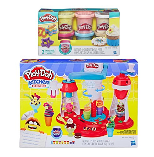 Play-Doh Kitchen Creations Ultimate Swirl Ice Cream Maker + Play-Doh Confetti Compound Bundle