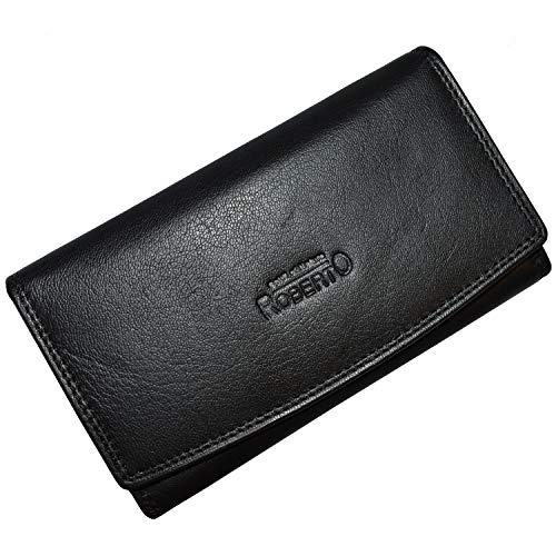 Flevado portemonnee dames lederen portemonnee damesportemonnee met kleingeld klipvak op ouderwetse portemonnee