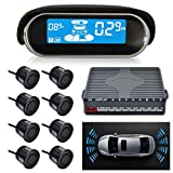 SUNWAN Car Parking Sensor Dual-core Front and Rear View Reverse Radar System LCD Display Kit N8P4L Four Voice Switchable with 8 Black Sensor