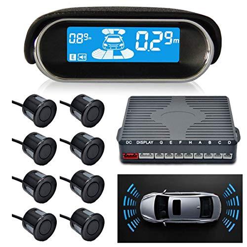 Sunwan N8P4L Parksensor, Dual-Core, Vorder- und Rückfahrradar-System, LCD-Display, 4 Sprachen, umschaltbar mit 8 schwarzen Sensoren