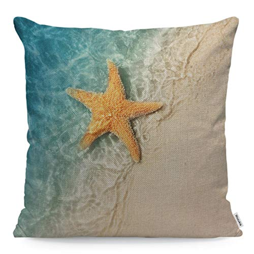 Wozukia Starfish Throw Pillow Cover on The Summer Beach Tropical Sand Beach Vacation Design Square Pillow Case Cushion Cover for Home Car Kitchen Decorative Cotton Linen Pillowcases 18x18 Inch