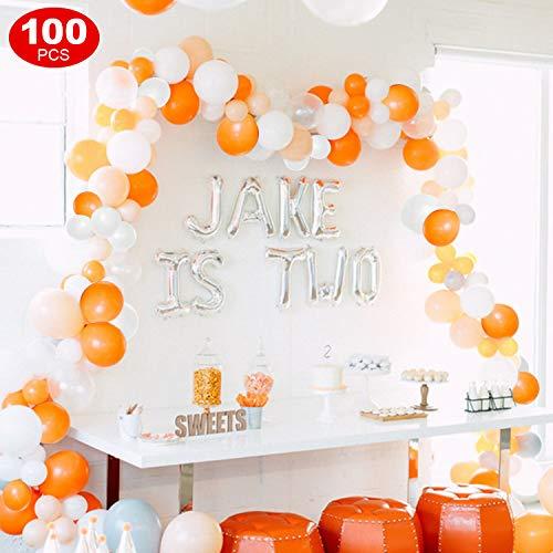 FEYG Luftballon, 100 Stück Orange Gelb Weiß Luftballons Geburtstag Latex Helium Ballons für Geburtstag, Hochzeit, Babyparty, Dekoration, Geschäftstätigkeit