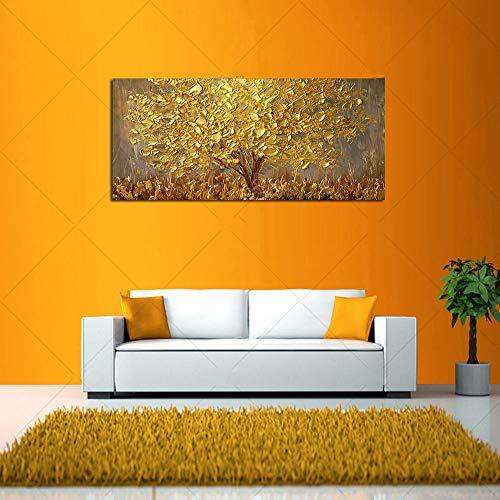 XIAOLIU Leinwand GemäLde Handgemalte Messer Gold Baum Ölgemälde Auf Leinwand Große Palette 3D Gemälde Für Wohnzimmer Moderne Abstrakte Wandkunst Bilder