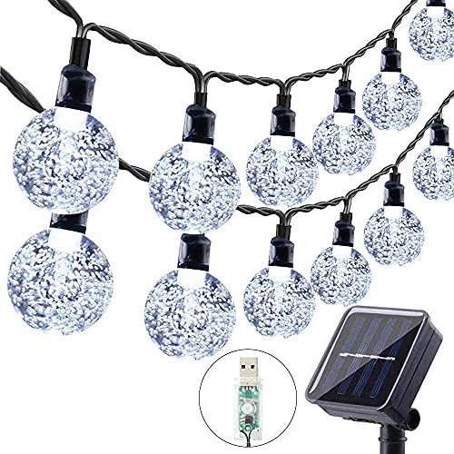 Guirnaldas Luces Exterior Solar, 60LED 11M Luces Solares Led Exterior Jardin con USB energizado por, 8 Modos & Impermeable Cadena de Hadas para Jardín, Eésped, Patio, árbol de Navidad(Blanco)