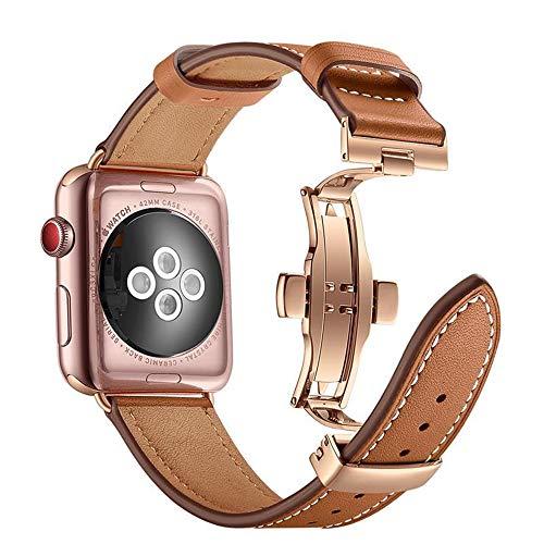 Arkrdiif Correa compatible con Apple Watch 44 mm 42 mm Series 6/SE/5/4/3/2/1, correa de piel de repuesto con cierre de metal compatible para Apple Watch (42 mm/44 mm, marrón)