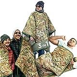 AMZoutdoor Saco de dormir 3 en 1 con cojín, manta para exteriores, manta de pícnic, forro de...