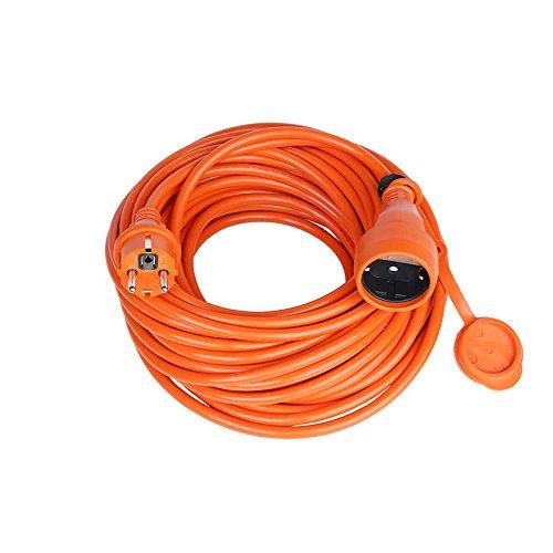 Verlängerungskabel Verlängerung Strom-Kabel Mit Schuko IP44 Garten (15,0 Meter, Orange)