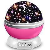 ZIIFEEL Proyector Estrellas,Luz Nocturna Infantil,Proyector de Estrellas,Proyector Estrellas Techo,Luz Nocturna 360° Rotación Romántica,Conecte el Usb o la Batería,Grandes Regalos para Niño(Rosa)