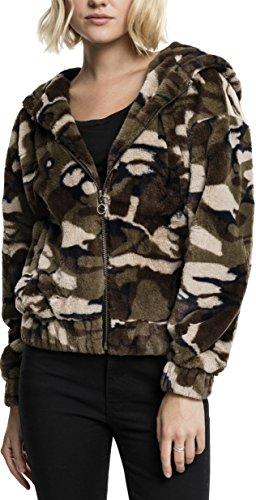 Urban Classics Ladies Camo Teddy Jacket Sweatshirt à Capuche, Multicolore (Camouflage en Bois 396), XS Femme