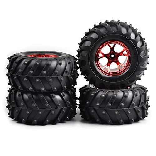 Conveniente neumático de coche Rc, RC 4pcs / set Escala 1:10 neumático de goma del borde de la rueda con 12 mm hexagonal encaja 1/10 del coche camión Modelo de piezas y accesorios para modelo de coche