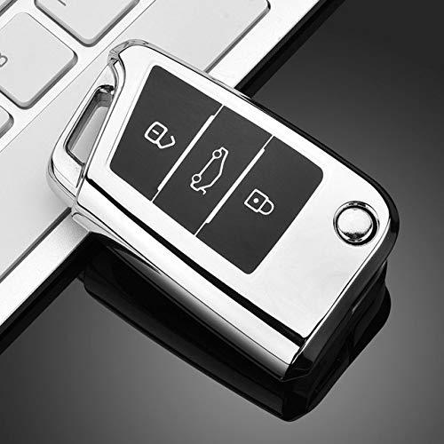 Funda protectora para llave de coche, TPU para llave de coche, compatible con Volkswagen VW Golf 7 MK7 Seat Ibiza Leon FR 2 Altea Aztec para Skoda Octavia, B, plata