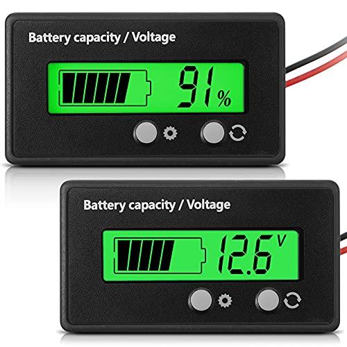 Medidor de Batería con Alarma DC 12V 24V 36V 48V 60V 72V 84V, Ajuste Frontal y Tecla de Interruptor, Monitor Indicador de Voltaje Capacidad Batería de Lones de Litio y Plomo-Ácido (Verde)