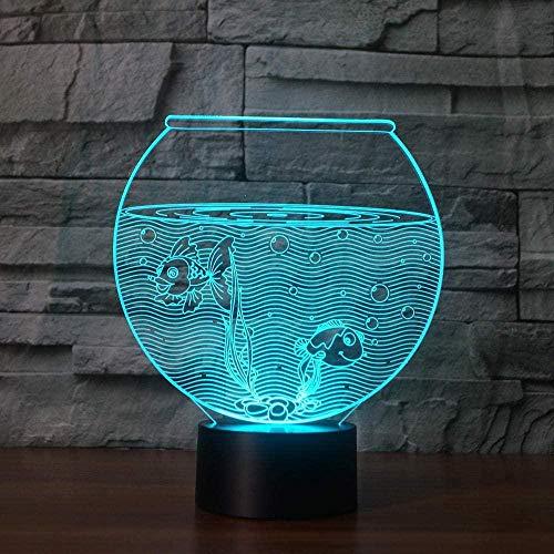 Tatapai 3D Illusion Lamp Led Night Light Realistic Aquarium 7 Colors Fish Bowl Table Lamp Home Decoration Battery Powered Gift