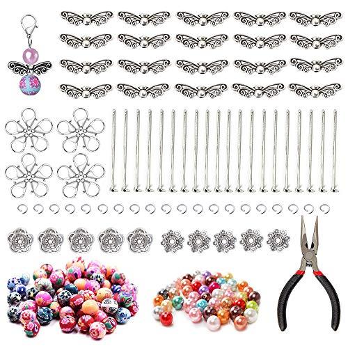 Nsiwem Hochzeit Taufe Anhänger Perlenengel Bastelset Set für Perlenengel Schutzengel Anhänger Perlenengel 20 Kits für Handmade DIY Engel Anhänger Selber Machen