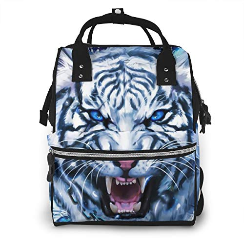 Large Capacity Diaper Bag Backpack, Anti,Water Toddler Nursing Nappy Backpack Storage Bag with Stroller Straps, Galaxy Constellation Neon Tiger Artistic Graphics Best Travel Bag Tote