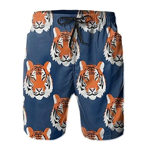 PMNADOU Jungle Tigers in Auburn Colors - Bañador de verano para hombre, estilo informal, con cordón ajustable, pantalones cortos de playa, multicolor, Large