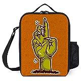 Bolsa de almuerzo para hombres de trabajo, con aislamiento suave para el almuerzo para adultos y mujeres, pequeño picnic, camping, playa, viajes, diseño de mano verde gigante naranja