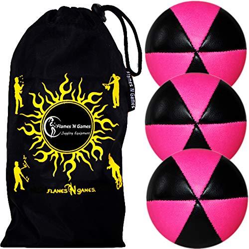 3X Astrix UV Balles de Jonglage en Cuir Super Durable (Leather) Pro Jonglerie Beanbag Jonglage Balles + Sac de Transport. (Noir/Rose)