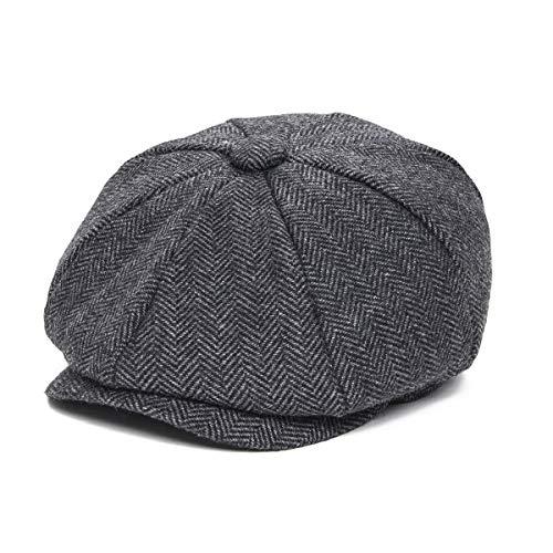 JANGOUL Boys Vintage Newsboy Cap Tweed Flat Beret Cabbie Hat for Kids Toddler Pageboy (50cm(12-24 Months), Black)