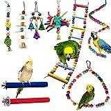 WADY Juegos para pájaros, loros, 9 piezas, trineos y perchas de juguete, jaula, multicolor de madera, escalera de juguete, cuerda para pájaros pequeños y medianos
