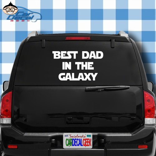 """Car Decal Geek Best Dad in The Galaxy Vinyl Decal Sticker Bumper Cling for Car Truck Window Laptop MacBook Wall Cooler Tumbler   Die-Cut/No Background   Multi Sizes/Colors Silver, 8"""""""