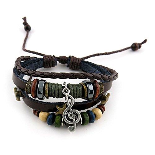 1 PCS Leather Wristband Strand Bracelet Fashion Wrap Bangle Ladies Men Women Jewellery QNW2098 Beads Music Symbol