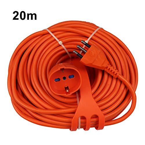 Extrastar Prolunga Da Giardino Con Pratico Supporto Spina Grande 16 A Presa Pluristandard Sezione Cavo 3 x 1,5 mm² Arancio 20 Meter.