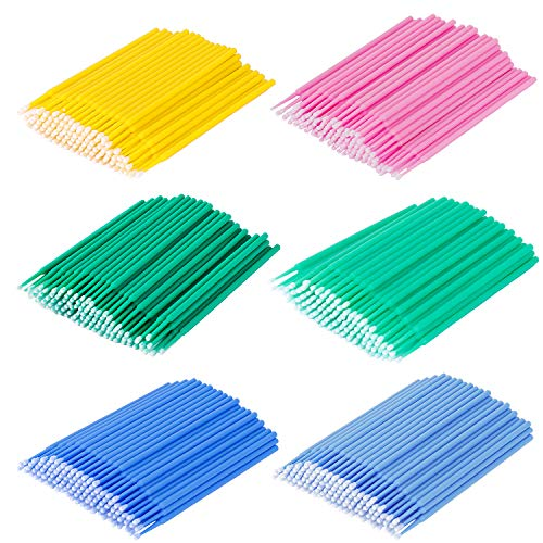 Monouso Micro Spazzole Applicatore 6 color Trucco Applicatore Microbrush Eyeliner Adatto per Extension Ciglia Rimozione Rimozione Trucco Nail Art e Pittura 600 Pezzi